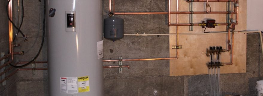 Installed hot water tank